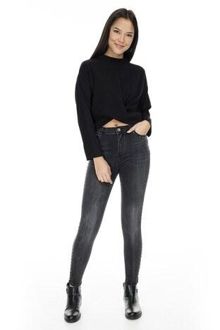 Fashion Friends - Fashion Friends Skinny Fit Jeans Bayan Kot Pantolon 9K0202 GRİ