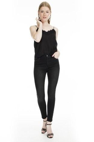 Fashion Friends - Fashion Friends Skinny Fit Jeans Bayan Kot Pantolon 9K0202 SİYAH
