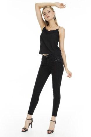 Fashion Friends - Fashion Friends Skinny Fit Jeans Bayan Kot Pantolon 9K0337 SİYAH