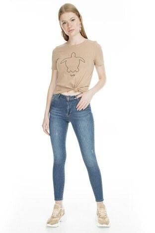 Fashion Friends - Fashion Friends Skinny Fit Jeans Bayan Kot Pantolon 9K0585 AÇIK MAVİ