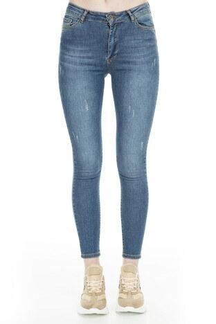 Fashion Friends Skinny Fit Jeans Bayan Kot Pantolon 9K0585 AÇIK MAVİ