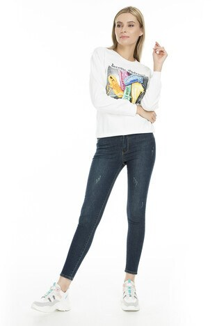 Fashion Friends - Fashion Friends Skinny Fit Jeans Bayan Kot Pantolon 9K0585 KOYU LACIVERT