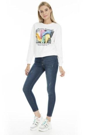 Fashion Friends - Fashion Friends Skinny Fit Jeans Bayan Kot Pantolon 9K0585 MAVİ