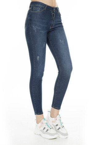 Fashion Friends Skinny Fit Jeans Bayan Kot Pantolon 9K0585 MAVİ