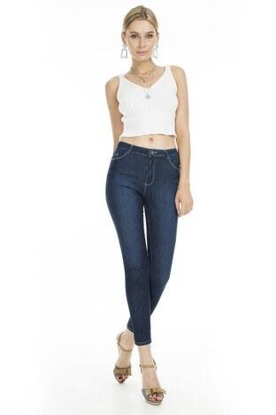 Fashion Friends - Fashion Friends Skinny Fit Jeans Bayan Kot Pantolon 9K0688 LACİVERT