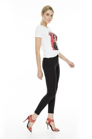 Fashion Friends - Fashion Friends Skinny Fit Jeans Bayan Kot Pantolon 9K0908 SİYAH