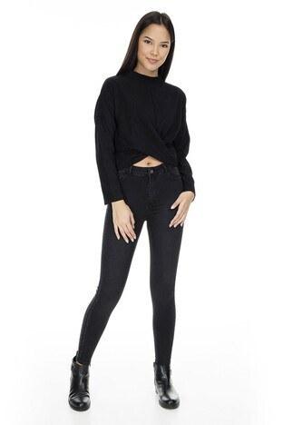 Fashion Friends - Fashion Friends Skinny Fit Jeans Bayan Kot Pantolon K0334 SİYAH