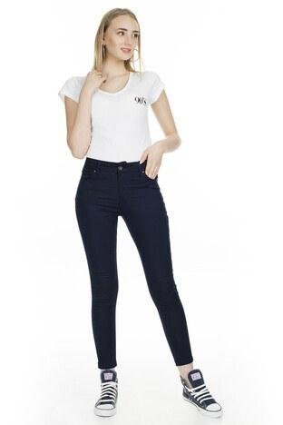 Fashion Friends - Fashion Friends Slim Fit Bayan Pantolon 9K0331 LACİVERT