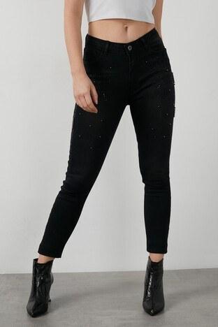 Fashion Friends - Fashion Friends Taş Detaylı Jeans Bayan Kot Pantolon 20K0156B1 SİYAH