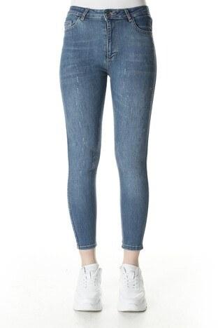 Fashion Friends Taşlı Jeans Bayan Kot Pantolon 20Y0584 KOYU MAVİ