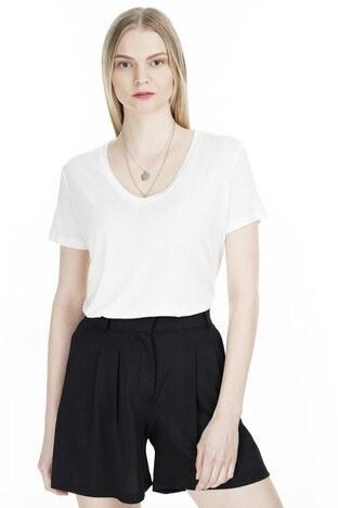Fashion Friends - Fashion Friends V Yaka Bayan T Shirt 20Y0050 EKRU