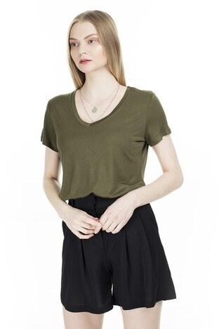 Fashion Friends V Yaka Bayan T Shirt 20Y0050 HAKİ