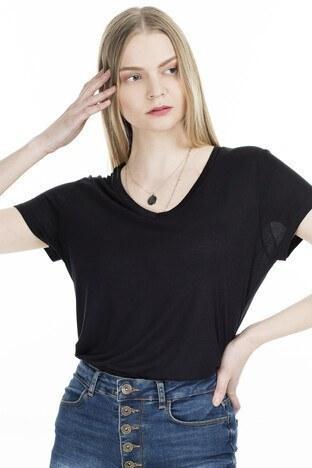 Fashion Friends V Yaka Bayan T Shirt 20Y0050 SİYAH