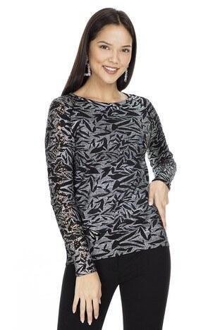 Fashion Friends - Fashion Friends Varaklı Baskılı Taşlı Bayan Kazak K0283 SİYAH