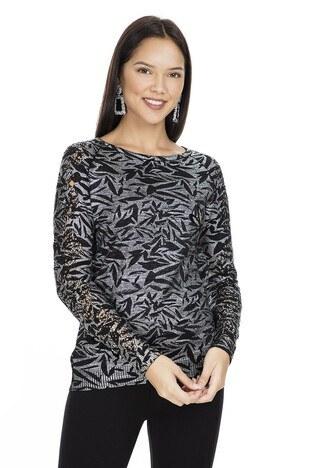 Fashion Friends Varaklı Baskılı Taşlı Bayan Kazak K0283 SİYAH
