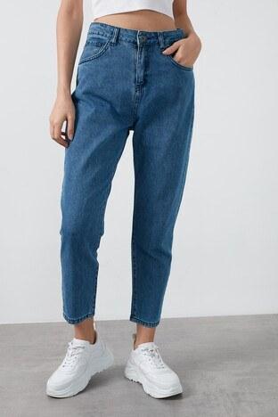 Fashion Friends - Fashion Friends Yüksek Bel % 100 Pamuk Mom Jeans Bayan Kot Pantolon 20K0082B1 MAVİ