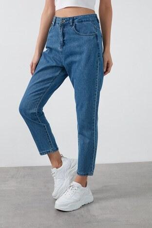 Fashion Friends Yüksek Bel % 100 Pamuk Mom Jeans Bayan Kot Pantolon 20K0082B1 MAVİ