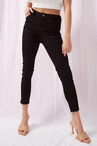 Fashion Friends - Fashion Friends Jeans Bayan Kot Pantolon 21Y0287B1 SİYAH