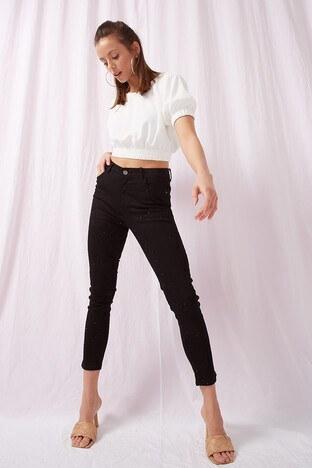 Fashion Friends Jeans Bayan Kot Pantolon 21Y0287B1 SİYAH