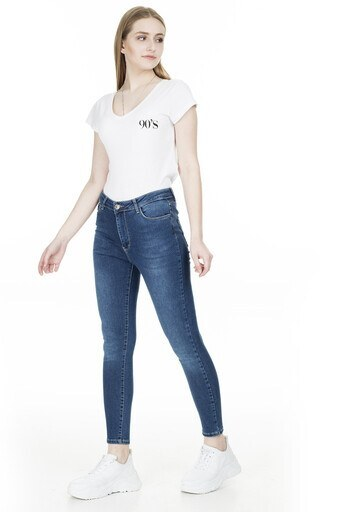 Fashion Friends Yüksek Bel Jeans Bayan Kot Pantolon 20Y0947 LACİVERT