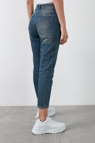 Fashion Friends Yüksek Bel Pamuklu Mom Jeans Bayan Kot Pantolon 20K0317B1 MAVİ