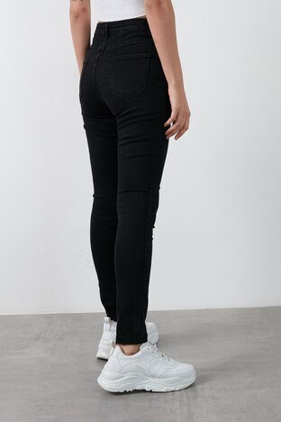 Fashion Friends Yüksek Bel Skinny Pamuklu Jeans Bayan Kot Pantolon 20K0161B1 SİYAH