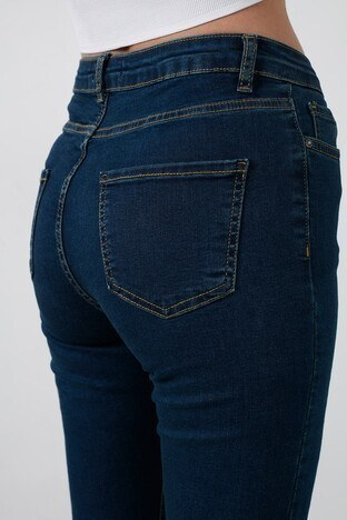Fashion Friends Yüksek Bel Skinny Pamuklu Jeans Bayan Kot Pantolon 20K0321B1 LACİVERT