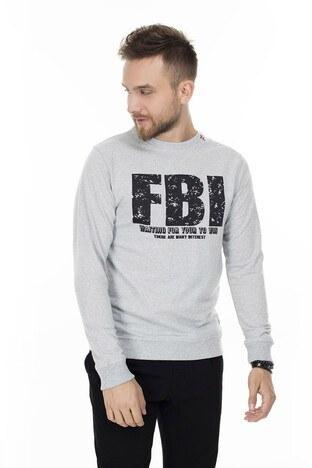 FBI - FBI Baskılı Bisiklet Yaka Erkek Sweat 54919280 GRİ