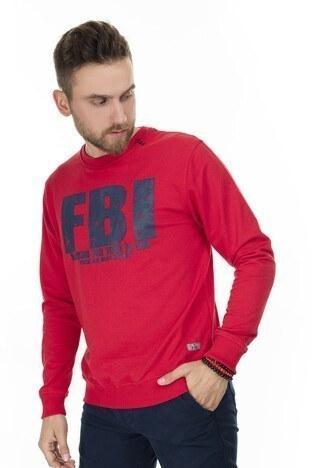 FBI - FBI Baskılı Bisiklet Yaka Erkek Sweat 54919280 KIRMIZI