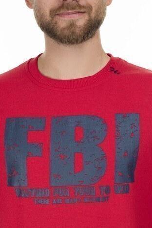 FBI Baskılı Bisiklet Yaka Erkek Sweat 54919280 KIRMIZI