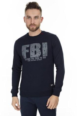 FBI - FBI Baskılı Bisiklet Yaka Erkek Sweat 54919280 LACİVERT