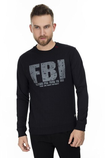 FBI Baskılı Bisiklet Yaka Erkek Sweat 54919280 SİYAH