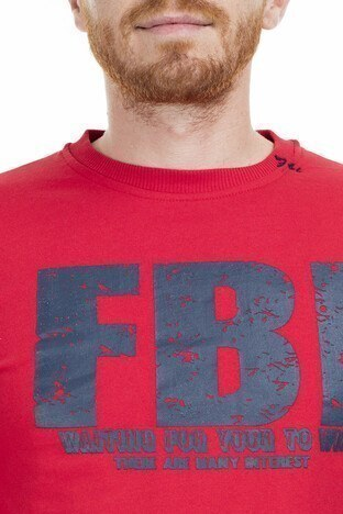 FBI Baskılı Bisiklet Yaka Erkek Sweat 5495234 KIRMIZI