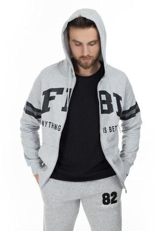 FBI - FBI Baskılı Kapüşonlu Erkek Sweat 54919281 GRİ