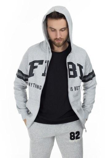 FBI Baskılı Kapüşonlu Erkek Sweat 54919281 GRİ