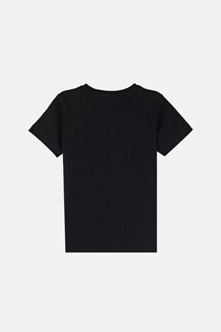 Forinns Pamuklu Baskılı Bisiklet Yaka Slim Fit Erkek Çocuk T Shirt F10EC 03221 SİYAH