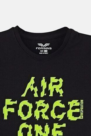 Forinns Pamuklu Baskılı Bisiklet Yaka Slim Fit Erkek Çocuk T Shirt F10EC 03227 SİYAH