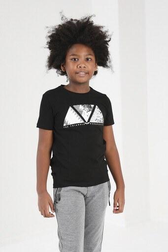 Forinns Pamuklu Baskılı Bisiklet Yaka Slim Fit Erkek Çocuk T Shirt F10EC 03228 SİYAH
