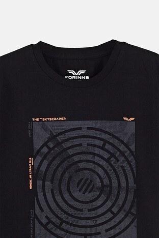 Forinns Pamuklu Baskılı Bisiklet Yaka Slim Fit Erkek Çocuk T Shirt F10EC 03231 SİYAH