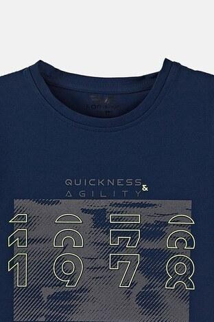 Forinns Pamuklu Baskılı Bisiklet Yaka Slim Fit Erkek Çocuk T Shirt F10EC 03233 İNDİGO