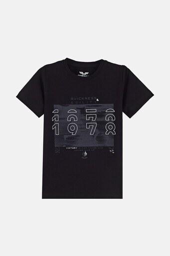 Forinns Pamuklu Baskılı Bisiklet Yaka Slim Fit Erkek Çocuk T Shirt F10EC 03233 SİYAH