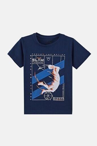 Forinns Pamuklu Baskılı Bisiklet Yaka Slim Fit Erkek Çocuk T Shirt F10EC 03235 İNDİGO