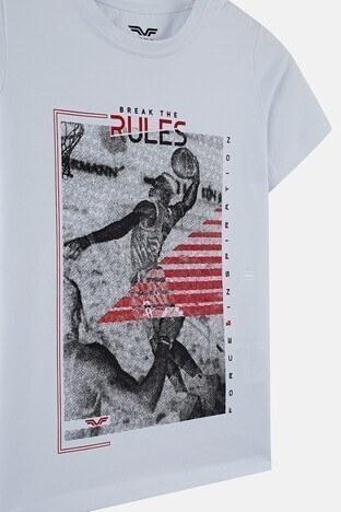 Forinns Pamuklu Baskılı Bisiklet Yaka Slim Fit Erkek Çocuk T Shirt F10EC 03236 BEYAZ