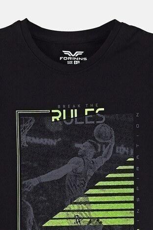 Forinns Pamuklu Baskılı Bisiklet Yaka Slim Fit Erkek Çocuk T Shirt F10EC 03236 SİYAH