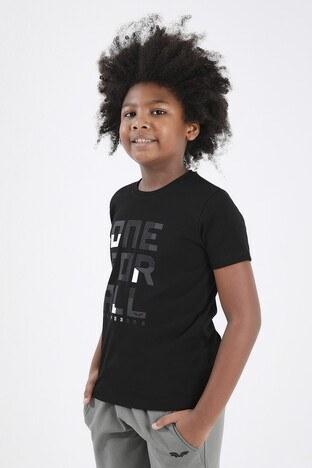 Forinns Pamuklu Baskılı Bisiklet Yaka Slim Fit Erkek Çocuk T Shirt F10EG 03221 SİYAH