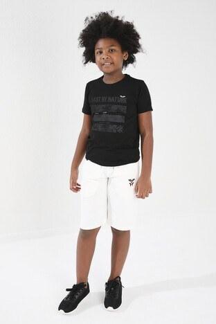 Forinns Pamuklu Baskılı Bisiklet Yaka Slim Fit Erkek Çocuk T Shirt F10EG 03223 SİYAH