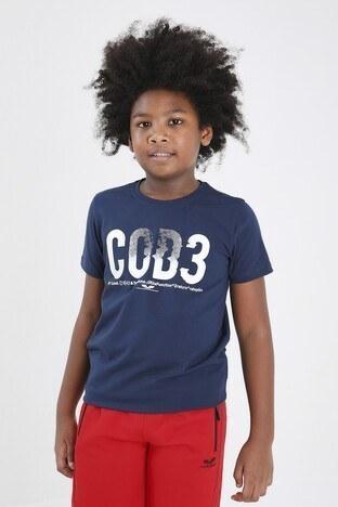 Forinns Pamuklu Baskılı Bisiklet Yaka Slim Fit Erkek Çocuk T Shirt F10EG 03226 İNDİGO