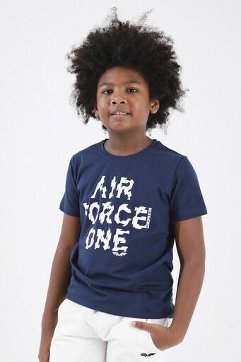 Forinns Pamuklu Baskılı Bisiklet Yaka Slim Fit Erkek Çocuk T Shirt F10EG 03227 İNDİGO