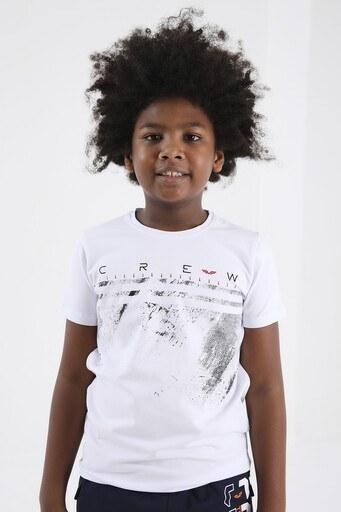 Forinns Pamuklu Baskılı Bisiklet Yaka Slim Fit Erkek Çocuk T Shirt F10EG 03229 BEYAZ
