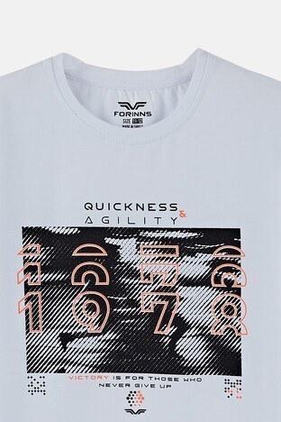 Forinns Pamuklu Baskılı Bisiklet Yaka Slim Fit Erkek Çocuk T Shirt F10EG 03233 BEYAZ
